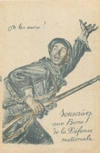 France patriotic military rifleman subscribe to National Defense Bonds postcard