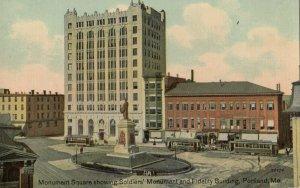 PORTLAND , Maine , 1900-10s ; Soldier's Monument & Fidelity Building