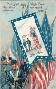 TUCK #107; Soldiers carrying U.S. flags marching, Quote, PU-1908