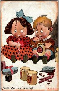 G. E. Sim Artist, Loves Golden Dream Children Eating Sweets Vintage Postcard S13