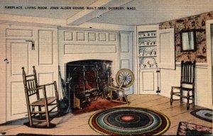 Massachusetts Duxbury Fireplace In Living Room John Alden House