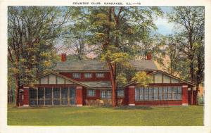 Kankakee Illinois~Country Club Shaded by Trees~1940s Linen Postcard