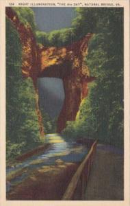 Virginia Blue Ridge Mountains Night Illuminatopn The 4th Day Natural Bridge 1945