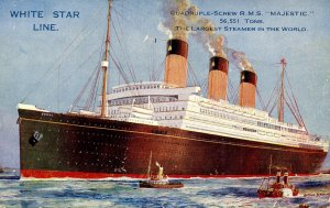 White Star Line - RMS Majestic. Artist: Montague Black