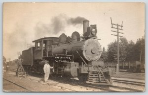 Wyanet Illinois~The Helper~Railroad Workers With Steam Locomotive~c1910 RPPC
