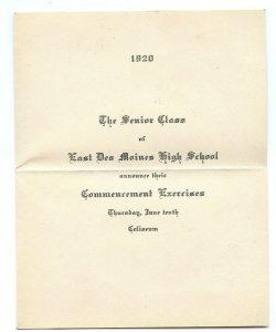 1920 Senior Class East Des Moines High School Commencement Exercise Invitation