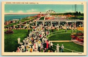 Norfolk VA~Ocean View Amusement Park~Airplane Ride~Ferris Wheel~Crowd~1940 Linen