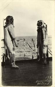 Diving Suits and Diver Helmet (1910s) Joseph Reynolds RPPC Postcard