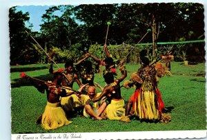 Fijian War Dance Spear Dance Fiji Westerner in Trouble Vintage 4x6 Postcard E16