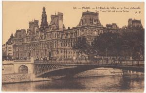 France, PARIS, L'Hotel-de-Ville et le Pont d'Arcole, unused Postcard