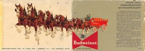 Clydesdales used by Budweiser, large double Budweiser Brewery Unused