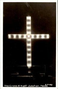 RPPC Junction Texas Illuminated Cross at Night - A19