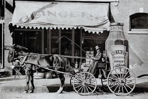 Vintage Repro Black & White Postcard Heinz Advertising Cart Sweet Pickles 53C