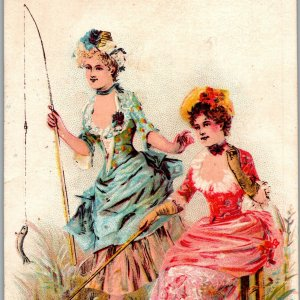 Eat Huggins' Crackers And Candies Beautiful Women Fishing Victorian Trade Card