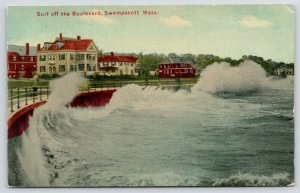 Swampscott Massachusetts~Surf off Boulevard~Resort Hotels~c1910 Postcard