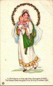 Vtg Postcard 1910s O Holy Christmas NIght Poem Mary Jesus Margaret Evans Price