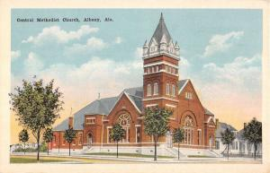 Albany Alabama Central Methodist Church Street View Antique Postcard K21410