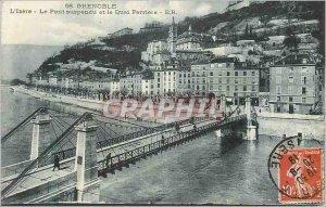 Old Postcard Grenoble Isere The Suspension Bridge and Quai Perriere