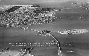 RPPC San Francisco Bay & Bridges Treasure Island GGIE 1940 Vintage Postcard