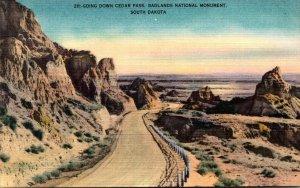 South Dakota Badlands National Monument Going Down Cedar Pass