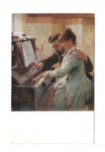 At The Piano Painting Albert Edelfelt Goteborgs Museum Paul Heckscher Postcard