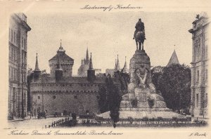 Krakow Pomnik Barbakan Statue Monument Miedzioryt Postcard