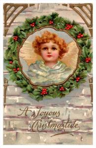 Christmas ,  Girl inside Wreath