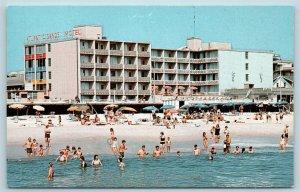 Postcard DE Rehoboth Beach Delaware Atlantic Sands Motel on Boardwalk X5