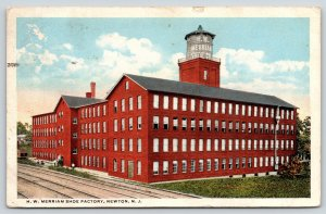 Newton New Jersey~HW Merriam Shoe Factory~Plant Water Tower~Railroad Tracks~1922