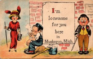 Michigan Greetings Muskegon I'm Lonesome For You Here 1914