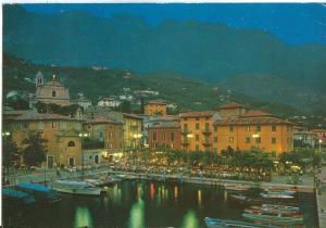 Italy, Malcesine, Lago di Garda, Il Porto di notte, 1984 used Postcard