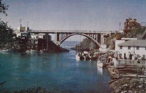 OREGON, 1950-1960's; Depoe Bay Bridge, Deep Sea Fishing Boats