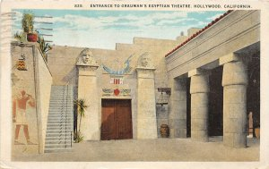 G26/ Hollywood California Postcard 1925 Entrance Grauman's Egyptian Theatre