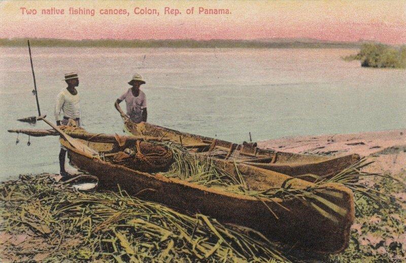 Panama Colon Two Native Fishing Canoes sk1496a