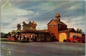 Las Vegas Nevada Postcard HOTEL LAST FRONTIER / Texaco Gas / Fire Station c1950s