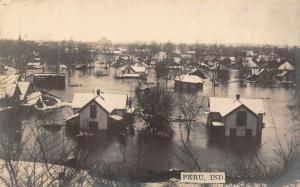 Peru Indiana~Homes Half-Way Under Water~Aerial View Flood Scene~RPPC Easter 1913
