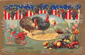 Thanksgiving   Turkeys,  American Flag Banners