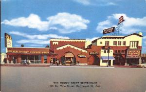 Hollywood California~Brown Derby on Vine Street~Western Airlines~1950s Car~PC