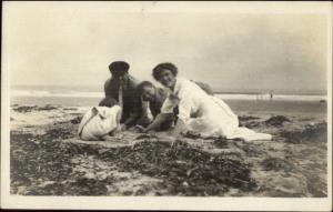 Family Plays on Beach - Salisbury Written on Back c1910 Real Photo Postcard #1