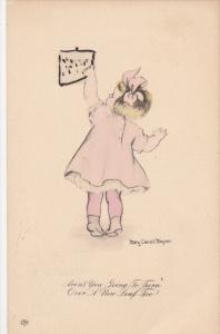 M. MAGNER: Blond Girl in Pink Dress Changing Calendar, Aren't You Going to T...