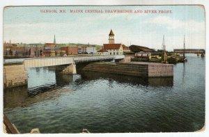 Bangor, Me, Maine Central Drawbridge And River Front