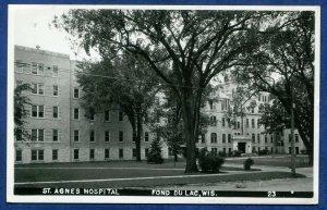 Fond Du Lac Wisconsin wi St Agnes Hospital Real Photo Postcard RPPC