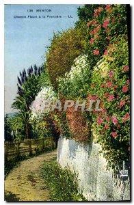 Old Postcard Menton Chemin Fleuri the Border