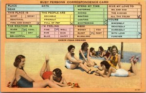 1949 POSTCARD CROWD WOMEN BIKINI BEACH  - BUSY PERSON'S CORRESPONDENCE CARD
