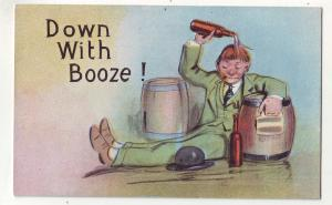 P671 JLs old comic card to much booze, down with booze