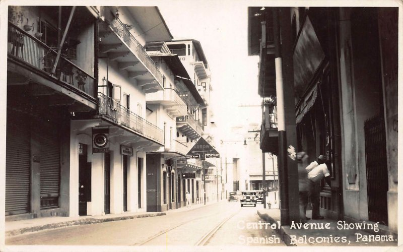 Central Avenue Showing Spanish Balconies, Panama, Early Postcard, Unused