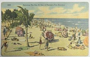 Old VTG Linen Era Postcard Enjoying the Sun at One of Florida's Fine Beaches