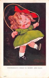 Wednesday's Child is Merry & Glad~Lil Girl Jumps Rope~1907 Ullman~Artist JS