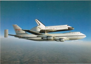 SPACE: 1980s ; Shuttle DISCOVERY rides a Boeing 747 Jet Airplane
