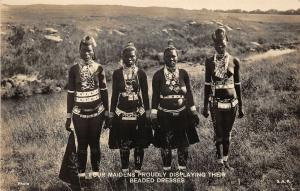 br104338 maidnes displaying their beaded dresses africa real photo South Africa